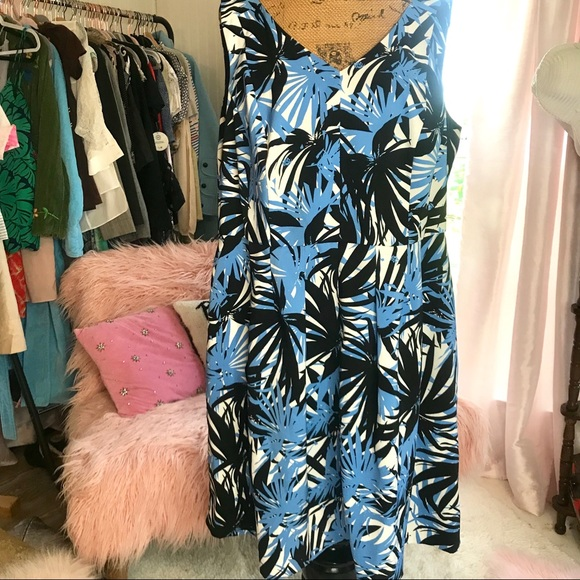 Julian Taylor Palm Leaves Plus Size Dress Sz 18 W
